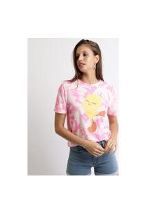 Blusa Feminina Piu-Piu Estampada Tie Dye Manga Decote Redondo Rosa