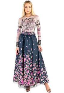 Blusa De Tule Com Silk Dragão Com Transfer Caos Feminina - Feminino-Rosa