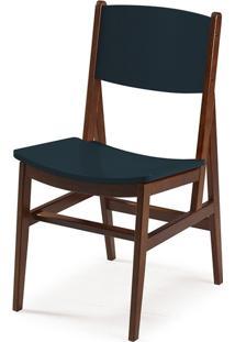 Cadeira Dumon Cacau E Azul Noite