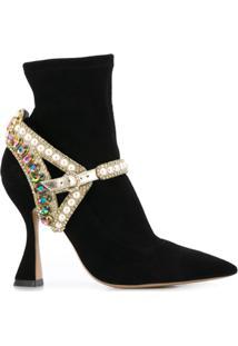 Sophia Webster Ankle Boot Com Aplicação De Cristais - Preto