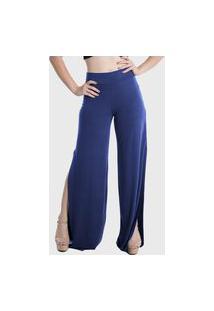 Calça Pantalona Laterais Abertas Cintura Alta Lynnce Azul Marinho