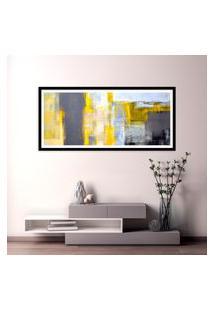 Quadro Com Moldura Chanfrada Abstrato Amarelo 60X130