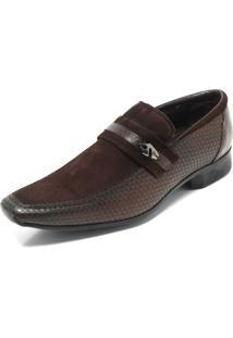 Sapato Social Couro Jota Pe Texturizado Marrom