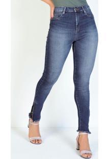 Calça Jeans Cigarrete Com Fendas E Zíper Sawary