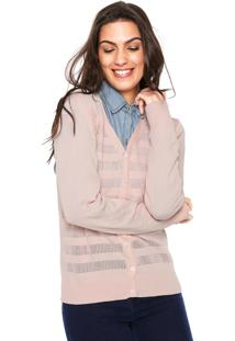 Cardigan For Why Tricot Texturizado Rosa