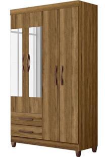 Guarda-Roupa Solteiro Com Espelho Ambar 4 Pt 2 Gv Amendoa
