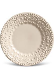 Prato Sobremesa Esparta Cerâmica 6 Peças Cru Porto Brasil