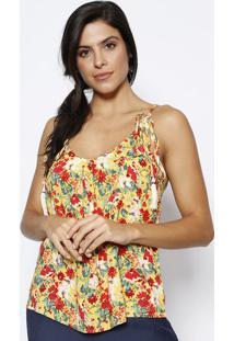 Blusa Floral Com Barbicachos- Amarela & Vermelha- Ththe Style Box