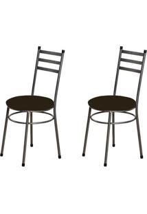 Kit 2 Cadeiras Baixas 0.135 Redonda Craqueado/Tabaco - Marcheli