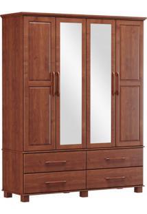Roupeiro Bipartido 4 Portas 4 Gavetas E 2 Espelhos Finestra Linha Ouro Cor Imbuia