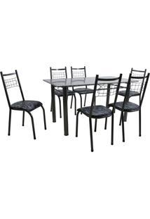 Conjunto De Mesa Granada Com 6 Cadeiras Lisboa Preto Prata E Preto Floral