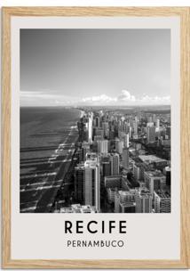 Quadro 65X45Cm Cidades Recife Brasil Moldura Natural Sem Vidro Decorativo