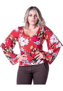 Blusa Em Viscose Meiruxa Vermelha - Vermelho - Feminino - Viscose - Dafiti