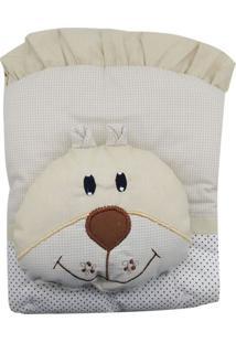 Capa De Carrinho Com Travesseiro Bruna Baby Poa Choco Bege