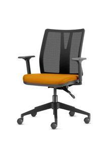 Cadeira Addit Assento Crepe Mostarda Com Base Piramidal Em Nylon - 54110 Mostarda
