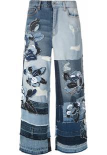 Dolce & Gabbana Calça Jeans Pantalona Com Recortes - Azul