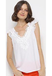 Blusa Top Moda Guipir Renda Feminina - Feminino-Branco