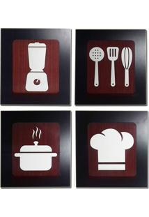 Kit 4 Quadros Decorativos Para Café, Cozinha E Restaurante Fabricado Em Mdf Com Relevo 33X30Cm