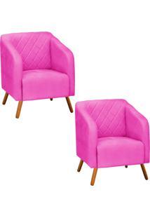 Kit 02 Poltrona Decorativa Silmara Suede Pink Pés Palito - D'Rossi