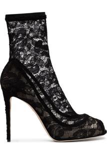 Dolce & Gabbana Bota Peep Toe De Renda - Preto