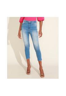 Calça Jeans Feminina Cropped Cintura Alta Com Lenço Azul Claro