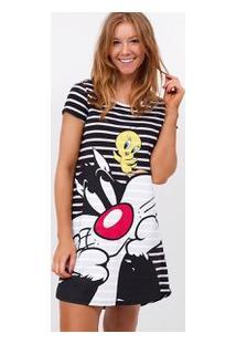 Camisola Listrada Com Estampa Looney Tunes
