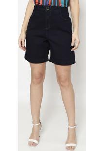 Bermuda Jeans Com Bolsos - Azul Escuro - Morena Rosamorena Rosa