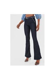 Calça Jeans Biotipo Flare Aplicação Azul
