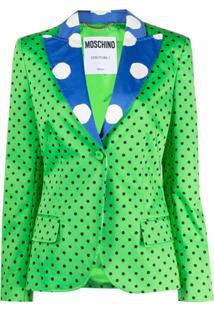 Moschino Blazer Com Estampas De Poás - Verde