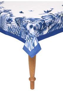 Toalha De Mesa Karsten Quadrada Sempre Limpa Nature Blue 1,60X1,60M Branca/Azul