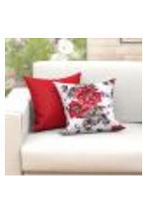 Capa Almofada Vermelha E Floral Estampada 2 Unidades 45Cm X 45Cm Tecido Jacquard Com Zíper