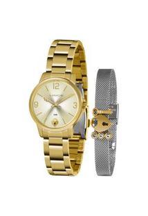 Kit Relógio Feminino Lince Analógico Dourado - Lrg4682L-Kn17C2K Dourado