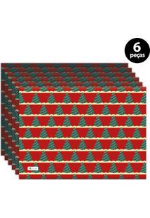 Jogo Americano Mdecore Natal Arvore De Natal 40X28 Cm Vermelho 6Pçs