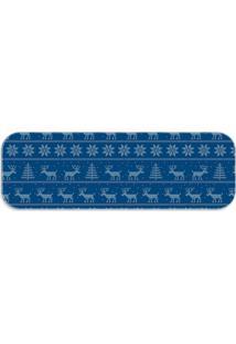 Passadeira Love Decor Natal Clássico Azul Único - Kanui