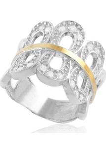 Anel Prata Mil Prata C/ Filete De Ouro E Zircã´Nia Prata - Prata - Feminino - Dafiti