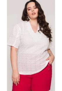 Blusa Almaria Plus Size Lady More Laise Off White Branco