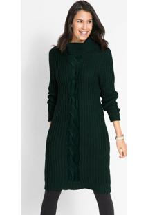 Vestido De Tricô Gola Alta Verde Musgo