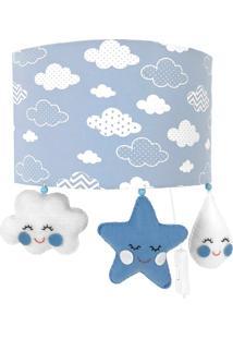 Arandela Meia Lua Chuva De Amor Azul Quarto Bebê Infantil Menino - Kanui