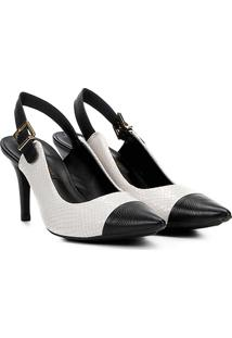 Scarpin Chanel Couro Jorge Bischoff Salto Alto Feminino - Feminino-Branco