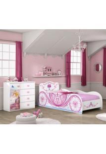 Comoda E Cama Carruagem Infantil Branco Rosa Moveis Estrela