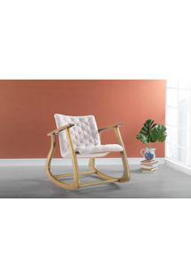 Poltrona Para Quarto De Balanço Smith 65X83X72Cm - Verniz Amêndoa \ Tec.003 Linen Soft Off White