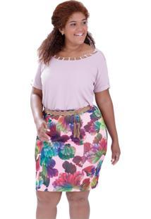 Blusa Decote Corrente Plus Size Vickttoria Vick Plus Size Rosa