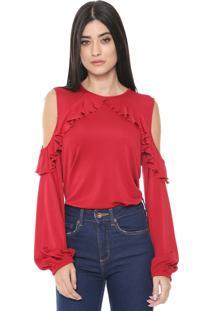 Blusa Colcci Off Shoulder Babados Vermelha