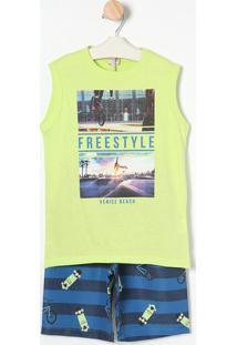 Conjunto Regata Freestyle + Bermuda- Verde Água & Azul