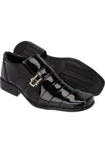 Sapato Social Couro Leoppé Verniz Masculino - Masculino-Preto