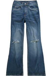 Calça Azul Escuro Small Flare Flex Jeans