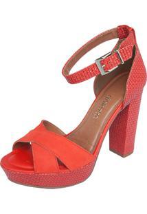 Sandália Dakota Meia Pata Salto Grosso Vermelha
