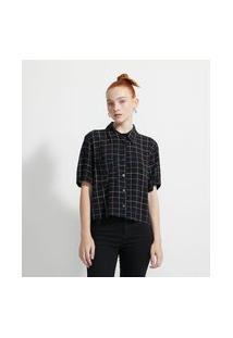 Camisa Cropped Em Viscose Estampa Quadriculada Colorida E Bolsinho Frontal | Blue Steel | Preto | M