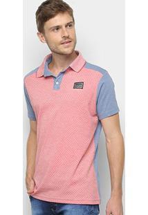 Camisa Polo Fatal Mini Print Masculina - Masculino-Vermelho