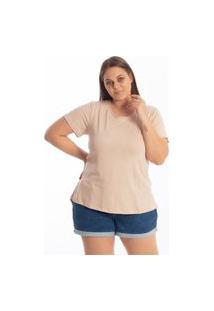 Blusa Mullet Gola Redonda Lisa Feminina Plus Size Tapa Bumbum Academia Bege